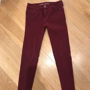 American Eagle Maroon Jeggings